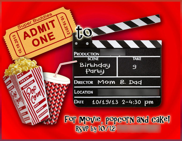 movie birthday party invite - Movie Birthday Party Invitations